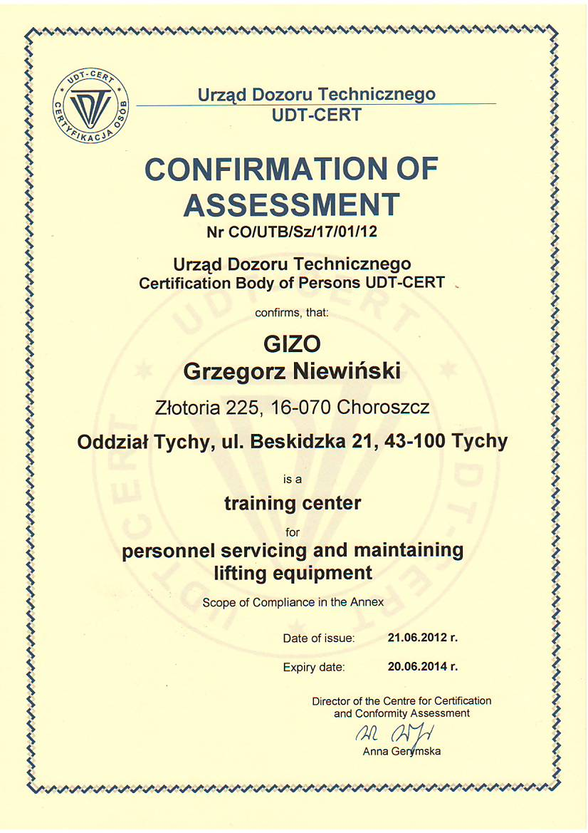 Confirmation of Assessment
